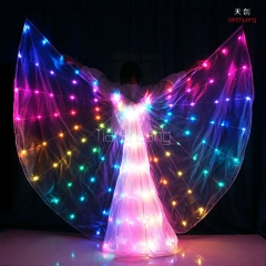 LED Butterfly Shape Fairy Luminous Glowing Belly Isis Wings DMX Program Dance Costume for Girls